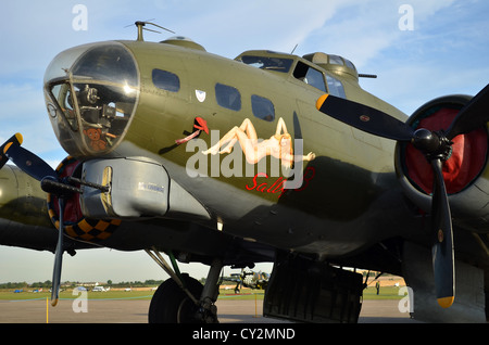 Boeing B-17G Flying Fortress 'Sally B' on display at Duxford - Stock Photo