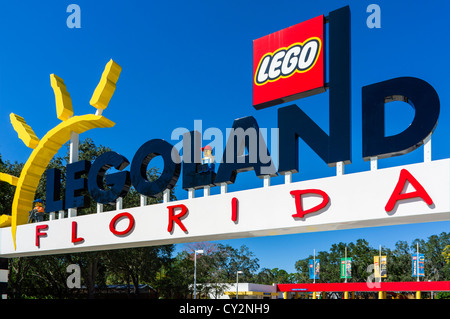Entrance to Legoland Florida theme park, Winter Haven, Central Florida, USA - Stock Photo