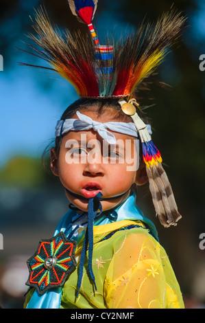 Chumash native American boy dancing - Stock Photo