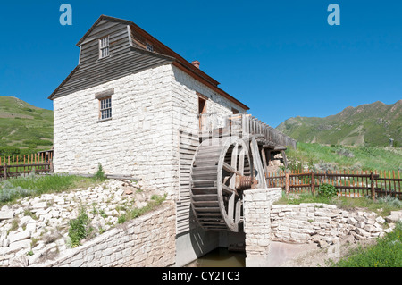Utah, Salt Lake City, 'This Is The Place' Heritage Park, a re-created 19th-century pioneer settlement, Grist Mill - Stock Photo