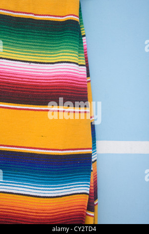 Detail of a colorful Mexican blanket - Stock Photo