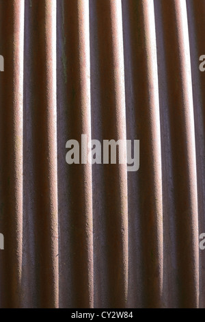 curved rusty corrugated steel background texture - Stock Photo