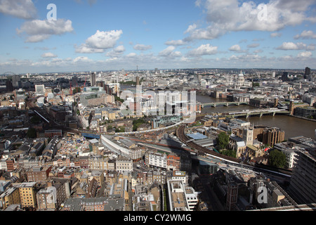 Aerial view of London from the top of Guy's Hospital, adjacent to the Shard. Shows River Thames, Bermonsey and Southwark. - Stock Photo
