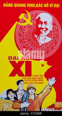 Propaganda Poster Of The Communist Party, Hanoi, Vietnam - Stock Photo