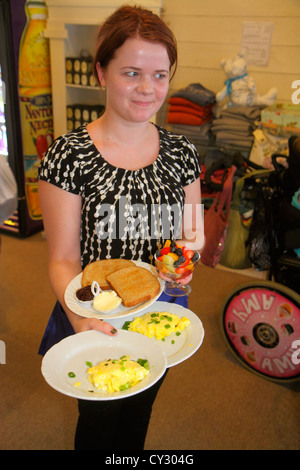 Massachusetts Cape Cod Sandwich Jarves Street Beth's Special Teas Bakery & Cafe woman waitress breakfast egg toast - Stock Photo