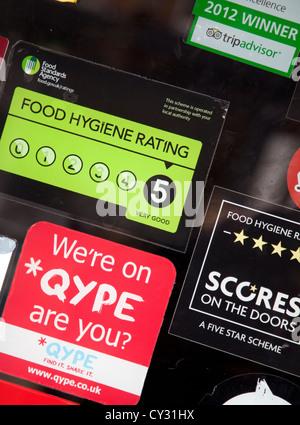... Food Standards Agency \u0027Scores on the Doors\u0027 hygiene rating on restaurant door London & Scores on the Doors\