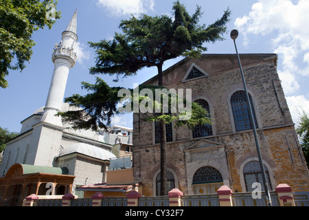 mosque and church on the asian side of Istanbul - Stock Photo