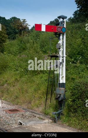 A British railway Lower-quadrant semaphore stop signal - Stock Photo