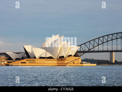 Sydney Harbour View from Mrs. Macquaries Point, showing Harbour Bridge and Sydney Opera House - Stock Photo