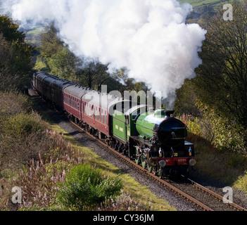 61306 British Railways 'Mayflower' 1940s LNER Thompson-class B1 restored engine, running at speed at heritage steam - Stock Photo