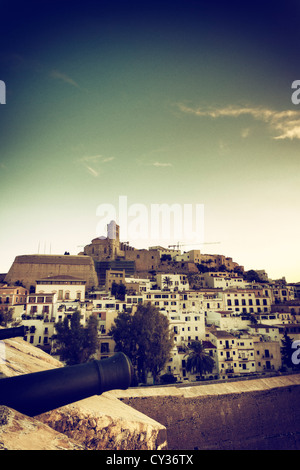 Spain, Balearic Islands, Ibiza, view of Ibiza old town (UNESCO site), and Dalt Vila - Stock Photo