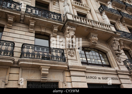 Spain, Cantabria Province, Santander, detail of the original Banco de Santander building, largest bank in Europe - Stock Photo
