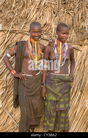 Girls of the Erbore tribe, Omo River Valley, Ethiopia - Stock Photo