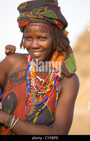 Woman of the Erbore tribe, Omo River Valley, Ethiopia - Stock Photo