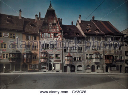 A view of a row of townhomes on the Town Hall Plaza in Stein Am Rhine. - Stock Photo