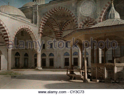 A view of the courtyard outside of Sultan Selim Mosque. - Stock Photo