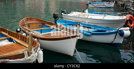 Traditional Ligurian fishing boats tied up in the picturesque town of Monetrosso. - Stock Photo