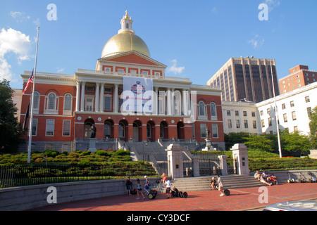 Boston Massachusetts Beacon Street State House gold dome - Stock Photo