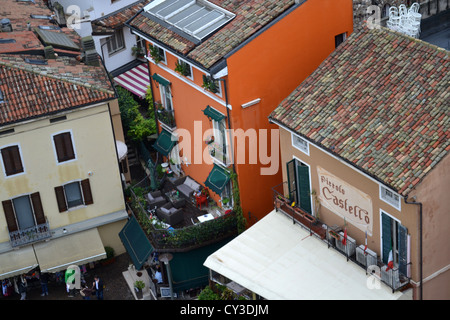 Rooftop view of the town Sirmione on the edge of lake Garda. In Brescia, Lombardy, North Italy. - Stock Photo