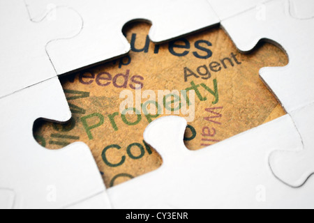 Property text on puzzle - Stock Photo