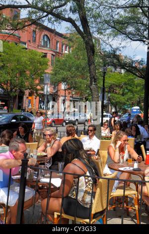 Massachusetts, Northeast, New England, Boston, Newbury Street, high end, luxury, name brand, shopping shopper shoppers - Stock Photo