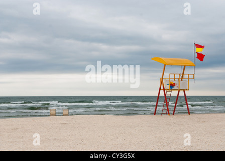 Lifeguard tower on a lonely beach - Stock Photo