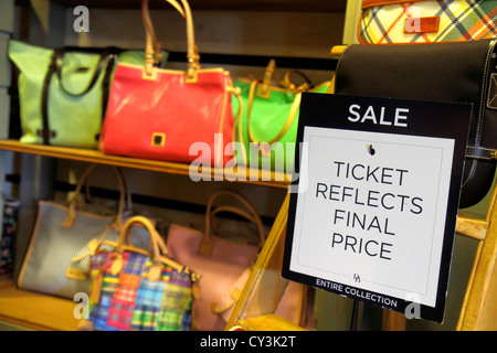 Maine Freeport outlet factory stores Dooney & and Bourke women's handbags leather goods retail display for sale - Stock Photo