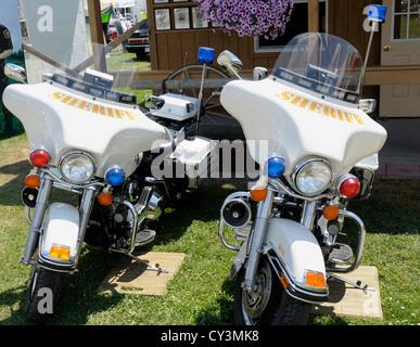 Monroe County Michigan Police motorcycles - Stock Photo