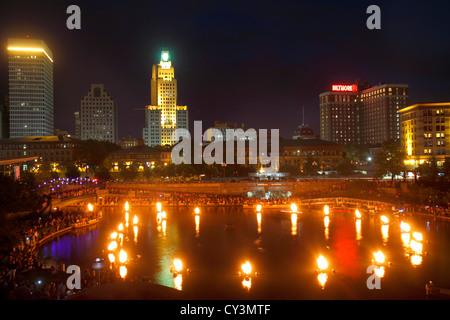 Rhode Island, Northeast, New England, Providence, Waterplace Park, River Walk, Providence River, city skyline cityscape, - Stock Photo