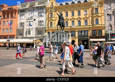 Statue of Count Josip in Jelacic Square Zagreb - Stock Photo