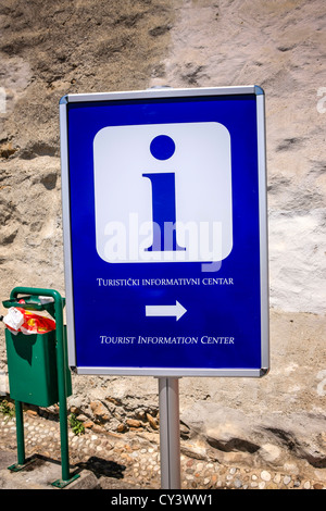 Tourist Information Center directs sign in Zagreb - Stock Photo