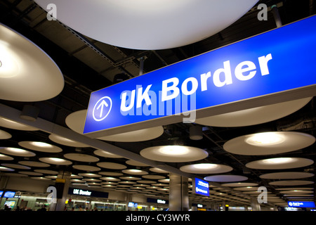 UK Border Passport Control Terminal 5 Heathrow Airport, England, United KIngdom, UK - Stock Photo