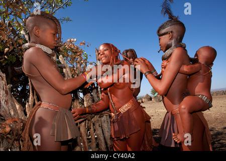 Himba tribe in Namibia. - Stock Photo