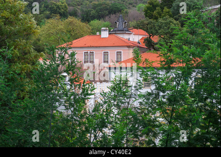Buildings in the thermal station of Caldas de Monchique, Algarve, Portugal - Stock Photo