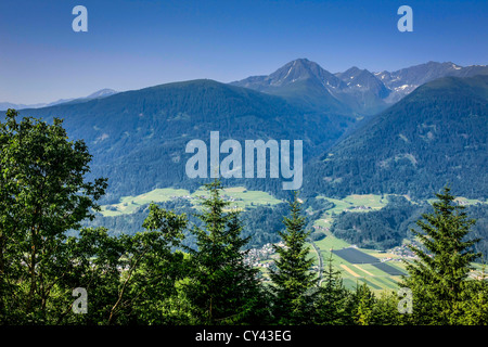 View of the Tyrolean Alps in the Olympia region of Austria - Stock Photo