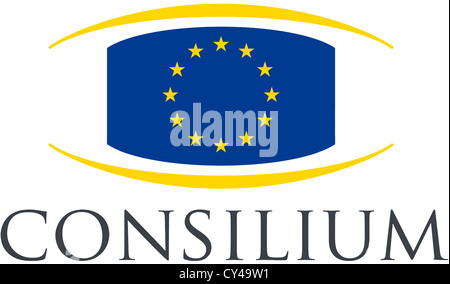 Logo of the Council of the European Union based in Brussels. - Stock Photo