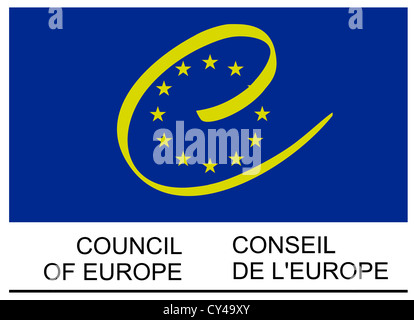 Logo of the Council of Europe based in Strasbourg. - Stock Photo