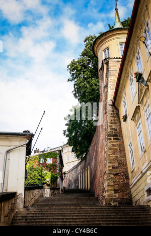 View of the steps on Zam Schody leading up the Castle in Prague - Stock Photo