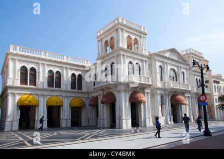 Portugese colonial style buildings in Macau, China - Stock Photo