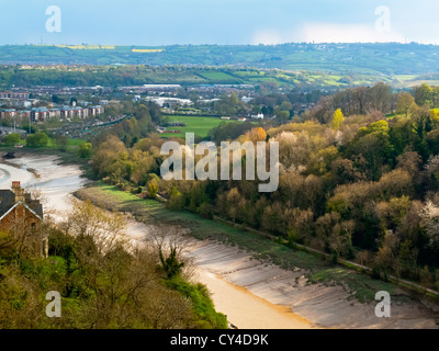 View of the River Avon gorge in Bristol England UK from the Clifton Suspension Bridge designed by Isambard Kingdom - Stock Photo