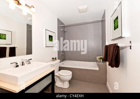 Interior three piece bathroom - artwork on walls are from photographer portfolio - Stock Photo