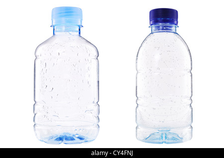 plastic bottle of Drop water isolated on white - Stock Photo