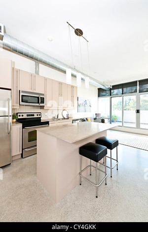 Kitchen and living room of apartment - artwork from photographer portfolio - Stock Photo