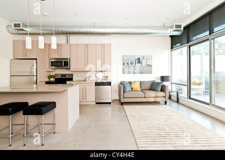 Kitchen and living room of loft apartment - artwork from photographer portfolio - Stock Photo