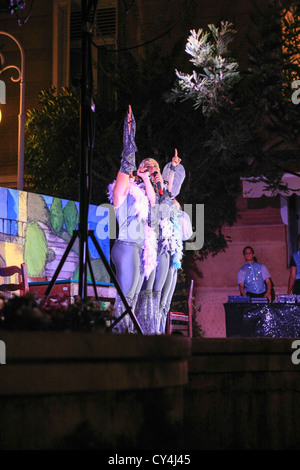 Night time entertainment in the resort of Opatija in Croatia - Stock Photo