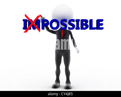 Businessman turning the word impossible into possible on white background - Stock Photo
