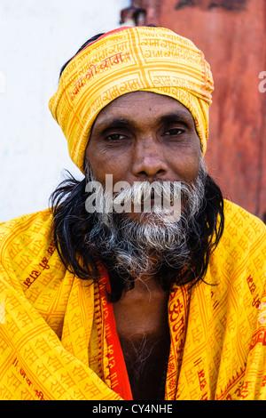 Sadhu portrait in Varanasi, Uttar Pradesh, India - Stock Photo