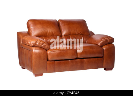 Nice and luxury brown leather sofa the great leather furniture - Stock Photo