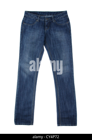 Dark blue jean a symbol of casual ware isolated - Stock Photo