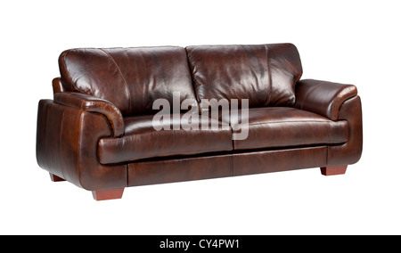 Brown luxury genuine leather sofa isolates on white background - Stock Photo